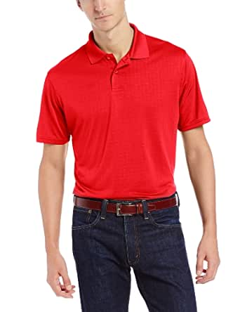 Haggar Men's Short Sleeve Poly Polo with Moisture Wicking and Textured Square Print, Fire, X-Large
