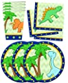 Little Dino Dinosaur Birthday Party Supplies Set Plates Napkins Cups Tableware Kit for 16