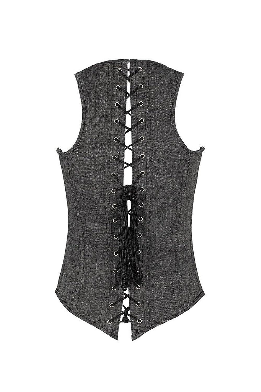 HuiSiFang® Frauen-reizvoller Wäsche-Leder-Reißverschluss-Taille Cincher Shapewear-Trainings-Korsett Sport Compression Grau Größe S-2XL