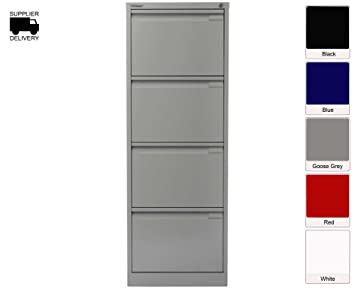 Bisley Filing Cabinet BS4E 4 drawer H1321xW470xD622mm Steel - Color: Grey