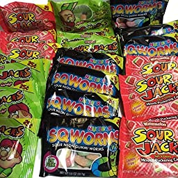 Sour Jacks Variety Pack, Original, Watermelon and Sour Neon Gummi Worms 3-Flavors 8-Packets Each 24 Qty.