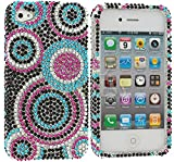 myLife Sky Blue, Pink and Black Rhinestone Circles - Rhinestone Series (2 Piece Snap On) Hardshell Plates Case for the iPhone 4/4S (4G) 4th Generation Touch Phone (Clip Fitted Front and Back Solid Cover Case + Rubberized Tough Armor Skin)