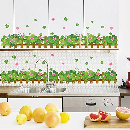 zooarts-Lucky-herbe-Fleurs-pieds-Line-Wall-Sticker-Decals-Sticker-vinyle-amovible-chambre-decor-Papier-peint