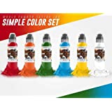 6 Bottle Simple Color Set - World Famous Tattoo Ink - 1oz.