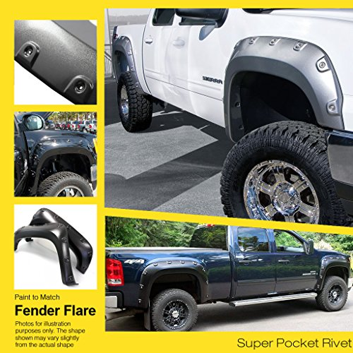 APS Reinforced ABS Fender Flares Riveted 4Pcs For 07-13 Toyota Tundra (Toyota 2010 Fenders compare prices)