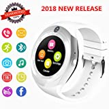 Smartwatch, Bluetooth Smart Watch Phone with Camera Pedometer SIM Card Slot for Android Samsung Sony Huawei and iOS iPhone (Partial Functions) Men Women Kids (White) (Color: White)