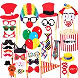 COOLOO Photo Booth Props Pre-Attached Party Favors for Wedding Birthday Carnival Bachelorette Dress-up Acessories 36Pcs, Costume with Mustache, Glasses, Cat, Clown, Bowler, Bowties on Plastic Sticks