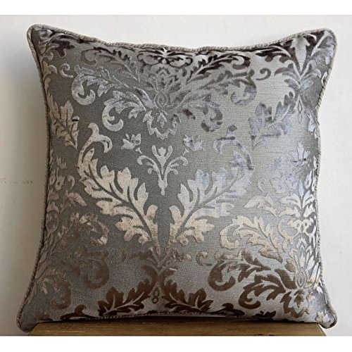 Gray Silver Damask - 26X26 Inches Square Decorative Gray Silver Throw Euro Sham Covers In Damask Burnout Velvet Fabric front-404176