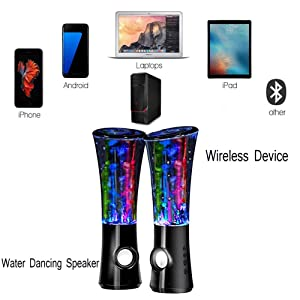 Water Dancing Speakers Light Show Water Fountain Speakers LED Speakers for Computer Cell Phone Tablets Dance or Sports Party Indoor (Dark Balck) (Color: dark balck)