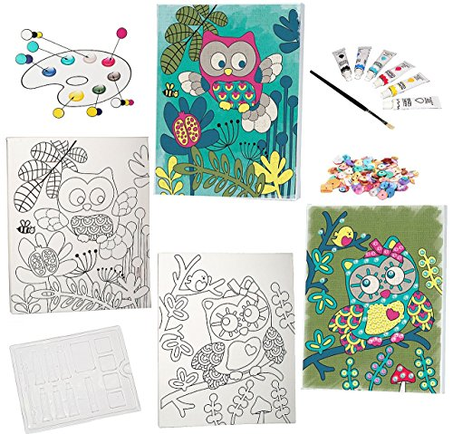 Wandbild Malen Welche Farben : lustige Eulen   nach Farben, Pailletten, incl Pinsel & Acryl Farb