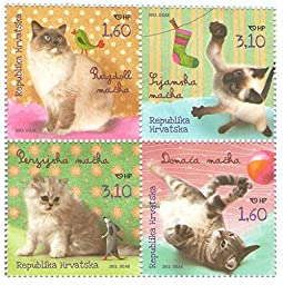 Four different stamps of Domestic Cats - set of 4 official stamps issued 2012 - Scott#843-846 / Croatia / MNH