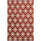 Jaipurrugs Moroccan Pattern Polyester Red/Orange Indoor Outdoor Temple Rectangle Rug Border Color Orange 3''x5''