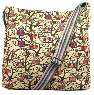 Kirsty Owl Print Slouchy Shoulder Crossbody Bag -- SWANKYSWANS by SWANKYSWANS