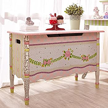 Crackled Rose Thematic Kids Wooden Toy Chest