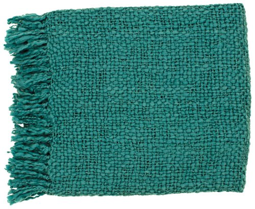 "Surya Tobias Tob-1010 Knit Hand Woven 70% Acrylic / 30% Wool Teal 51"" X 71"" Throw"