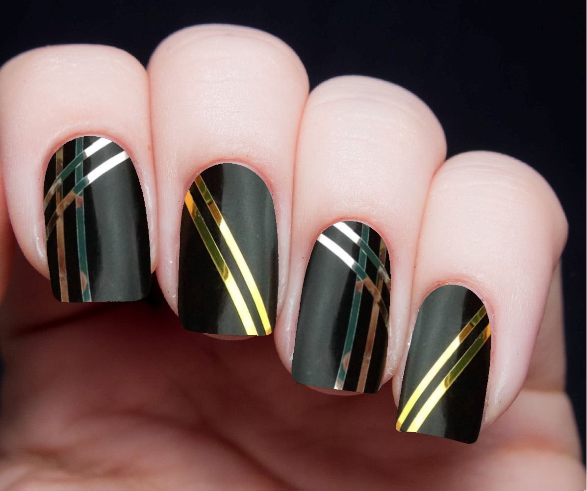 Nail Art Using Striping Tape: Kami Nail Art Gold & Silver Metallic Striping Tape Kit