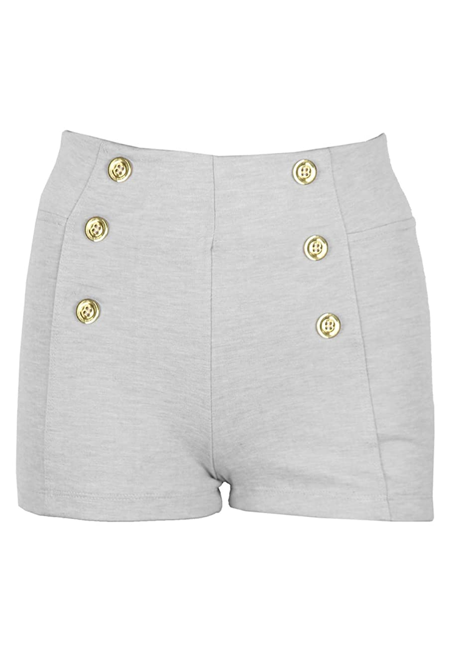 New Kathy Women's Solid High Waisted Vintage Style Shorts 0