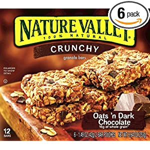 Review Nature Valley Crunchy Granola Bars, Oats 'n Dark Chocolate, 12-Count Boxes (Pack of 6)