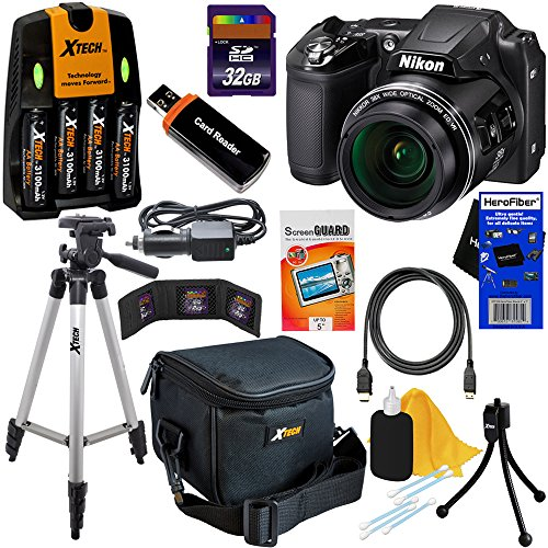 Nikon COOLPIX L840 16 MP CMOS Digital Camera with 38x Zoom NIKKOR Lens, HD Video & and Built-In Wi-Fi – Black – International Version (No Warranty) + 4 AA High Capacity Batteries with Quick Charger + 10pc Bundle 32GB Deluxe Accessory Kit w/ HeroFiber Ultra Gentle Cleaning Cloth