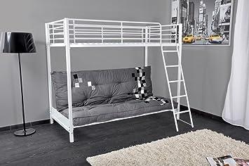 Letto a castello singolo Bianco con divano letto clik clak ...