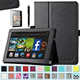 All-New Kindle Fire HD 7.0 Case - ULAK Slim Fit PU Leather Standing Protective Cover with Auto Sleep/Wake Feature for All-New Amazon Kindle Fire HD 7.0 Inch 2013 Gen with Screen Protector, Black