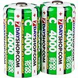 7dayshop Lot de 2 piles C NiMh rechargeables pré-chargées HR14 / MN1400 4000mAh