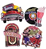 Beistle 55751 4-Pack Packaged Fabulous 50's Cutouts, 16-Inch