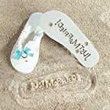 "Fx 5/1226 ""Just Married"" Girl Lady Flip Flops Stamp Your Message In The Sand"