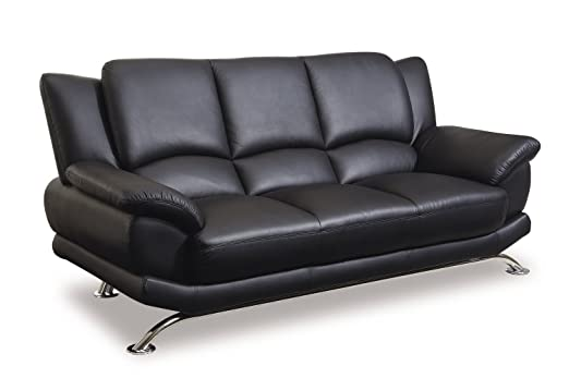 Bonded Leather Sofa w Chrome Base