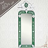IndianShelf Handmade New Design Decorative Vintage Clear Glass Wood And Iron Long Venetian Mirror 46.5 Inches...
