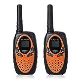 FLOUREON Walkie Talkies Two Way Radios 2 Packs 22 Channel 3000M (MAX 5000M open field) UHF Long Range Handheld Walkie Talky (Orange/Black) (Color: Orange/Black)