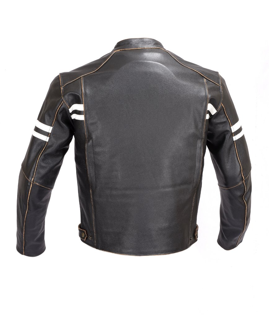 Men Motorcycle Vintage Hand Buffed Leather Armor Jacket Black MBJ031 (L) 2