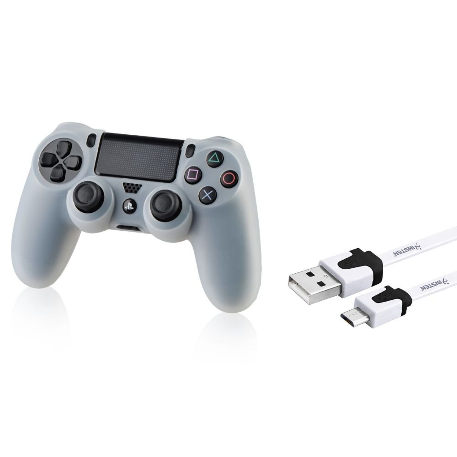 все цены на Insten® Clear White Silicone Skin PS4 Controller Case with FREE 3FT White Micro USB 2-in-1 Flat Noodle Cable Compatible With Sony PlayStation 4 онлайн
