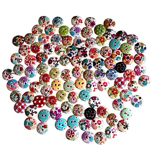 trixes-100-bottoni-colorati-assortiti-floreali-tessuto-a-quadretti-a-pois