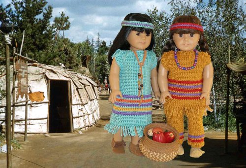 Two Little Indian Girls Crochet Pattern for 18 inch dolls