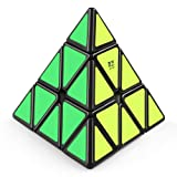 Coogam Qiyi Pyramid Speed Cube Black Triangle Magic Puzzle Toy Gift Kids Adults Challenge (Qiming Version)