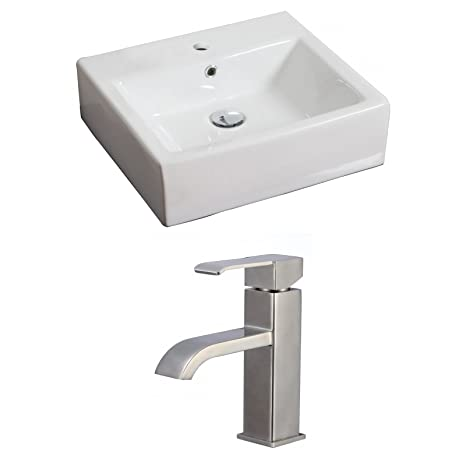 "Jade Bath JB-15110 20"" W x 18"" D Rectangle Vessel Set with Single Hole CUPC Faucet, White"