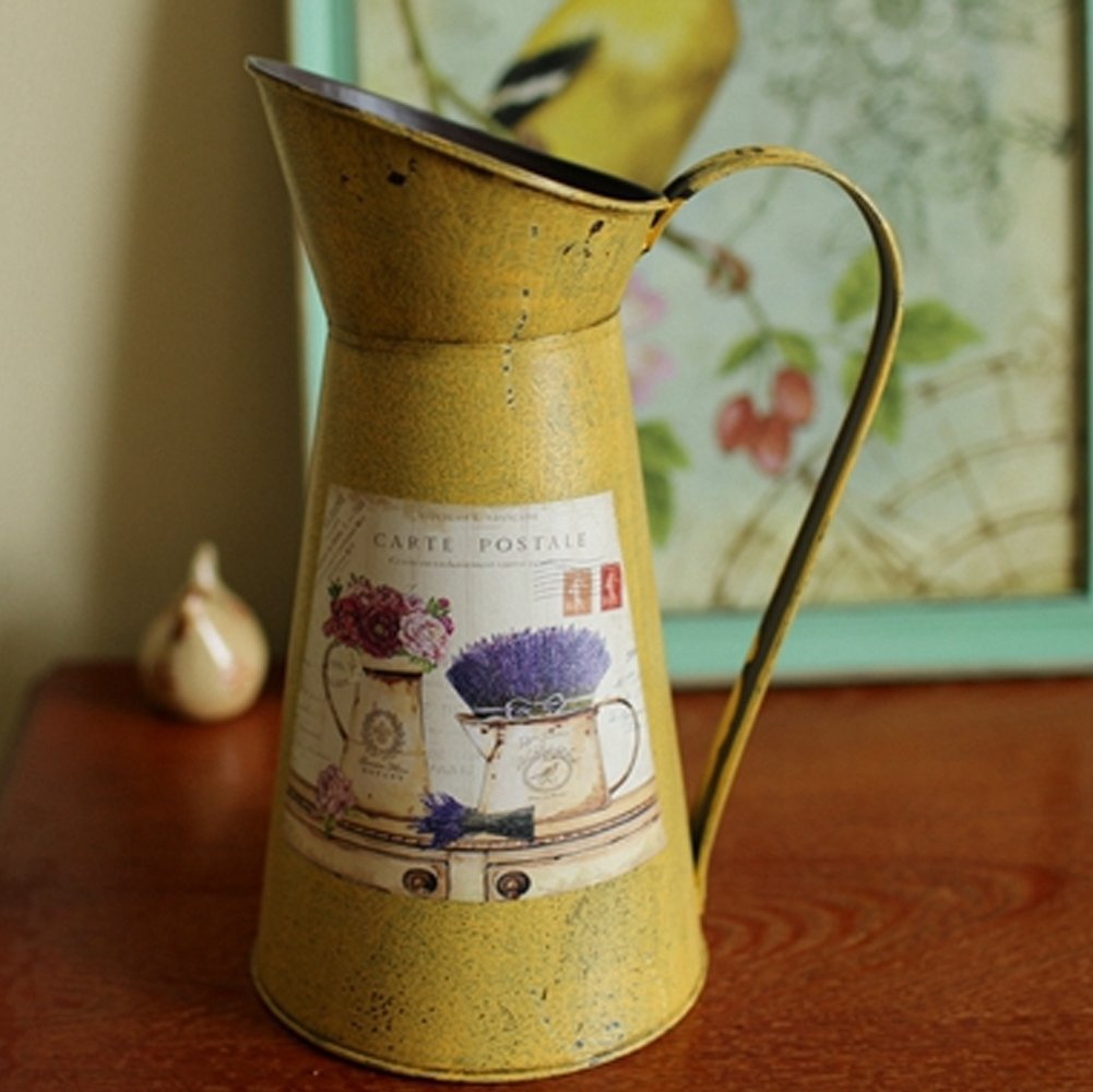 VANCORE(TM) Nostalgia Style Shabby Chic Larger Metal Pitcher Vase for Flowers Decoration 0
