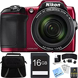 Nikon COOLPIX L840 Digital Camera w/ 38x Zoom VR Lens and Wi-Fi Red Bundle (Certified Refurbished)