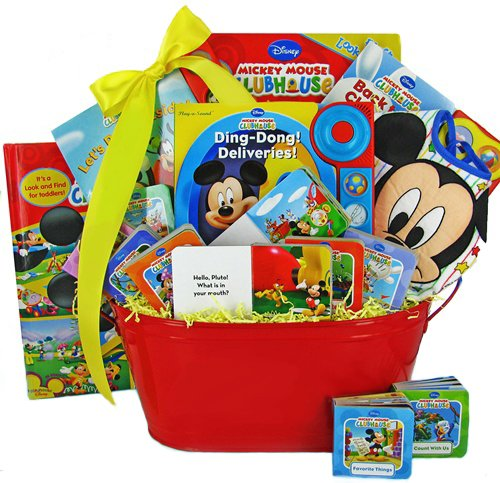 Mickey mouse baby bedding mickey mouse book basket baby shower mickey mouse book basket baby shower or christmas holiday gift idea for newborns or toddler negle Choice Image
