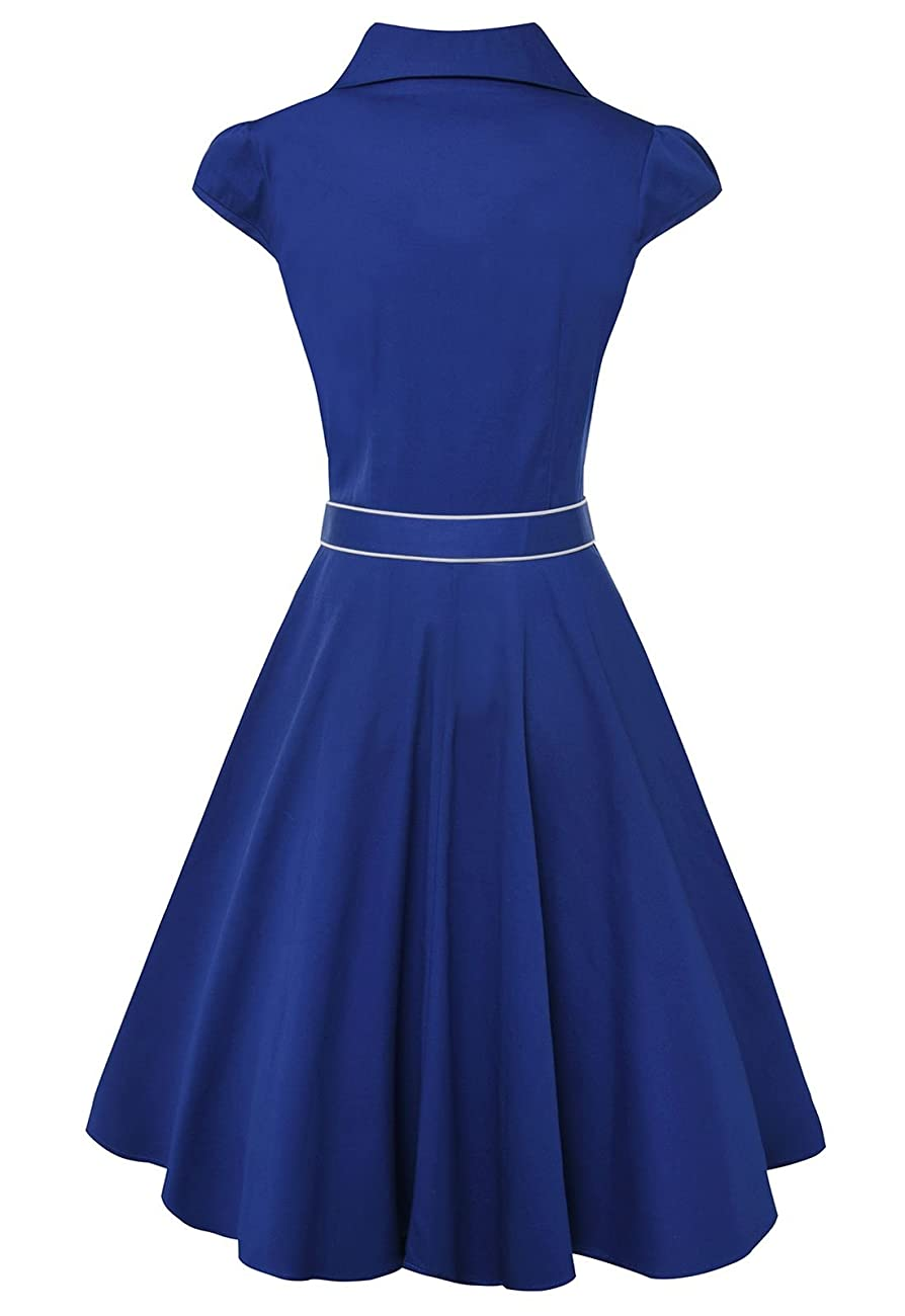 Anni Coco® Women's 1950s Cap Sleeve Swing Vintage Party Dresses Multi Coloredblue 2