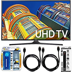 Samsung UN50KU6300 - 50-Inch 4K UHD HDR Smart LED TV Essential Accessory Bundle includes TV, Screen Cleaning Kit, 6 Outlet Power Strip with Dual USB Ports and 2 HDMI Cables