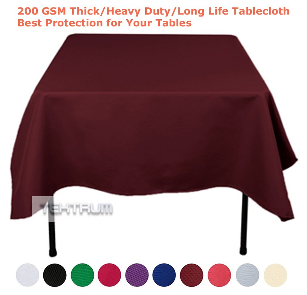 "TEKTRUM 70 X 70 INCH 70""X70"" SQUARE POLYESTER TABLECLOTH - THICK/HEAVY DUTY/DURABLE FABRIC (Burgundy)"