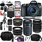 Canon EOS 70D Digital SLR Camera with 18-135mm IS STM Lens with Canon EF-S 55-250mm f/4-5.6 IS Image Stabilizer Telephoto Zoom Lens + .43x High Definition Wide Angle Lens With Macro Attachment + 2.2X High Definition Telephoto Lens + 64 GB Storage + Tripods + Premium Pro Accessories Kit