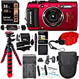 Olympus TG-4 Waterproof Digital Camera (Red), Lexar 32GB, Polaroid Floating Strap, Battery, Charger, RitzGear Tripod, Camera Case and Accessory Bundle
