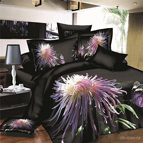 100% cotone Charming notte crisantemo fiore 3d stampa copripiumino set 4pezzi (1copripiumino + 1lenzuolo + 2federa), Twin XL