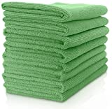 Vibrawipe Microfiber Cloth - Pack of 8 Pieces (All-Green) Microfiber Cleaning Cloths, HIGH ABSORBENT, LINT-FREE, STREAK-FREE, For Kitchen, Car, Windows
