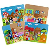 Set of 4 Felt Storyboards w/ Storage Bag - Three Little Pigs, Gingerbread Man, Goldilocks, Red Riding Hood