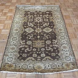 4 x 6 HAND KNOTTED BROWN OUSHAK ORIENTAL RUG VEG DYES G1128