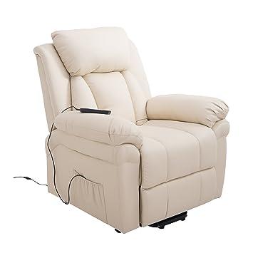 Homcom® Elektrischer Fernsehsessel Aufstehsessel Relaxsessel Sessel mit Aufstehhilfe (creme)
